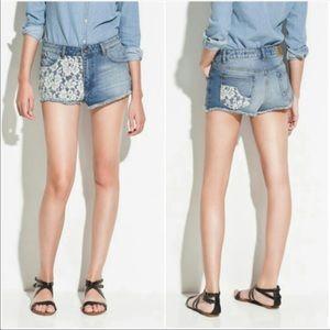 Zara High Rise Crochet Lace Cut Off Raw Hem Shorts